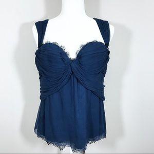 Elie Tahari blue silk bustier lace corset top